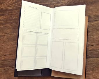Travelers Notebook Planner Daily Booklet - Schedule - Student - Fitness - To Do