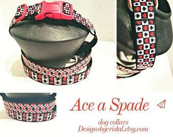 Ace a Spade - Dog Collar - Gin Rummy Dog Collar - Poker Dog Collar - Dog Lover Gift - Pet Gifts - Red and Black Dog Collar