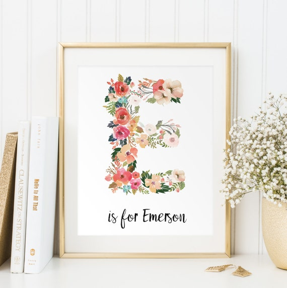 Personalized baby gift baby name wall art customized initials personalized baby gift baby name wall art customized initials print vintage floral letters nursery wall print digital art baby negle Images