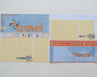 Travel #2 Premade or DIY Kit,12x12 Scrapbook Layout,Scrapbook Page Kit,