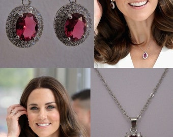 Kate Middleton Duchess of Cambridge Inspired Replikate Oval Pendant Silver Ruby Red Clear Crystal Necklace and Earrings Set