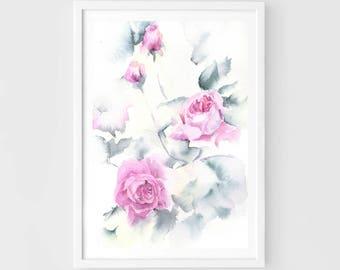 "Original flower watercolor, rose garden, mauve roses, original painting,7""x10"",garden,home decor"