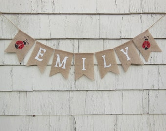 Ladybug Baby Shower, Ladybug Birthday Party, Custom Name Banner, Personalized Baby Banner, Baby Burlap Banner, Little Lady Shower Decor