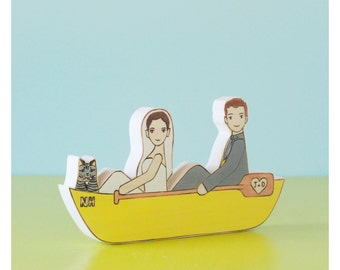 Custom Wedding Cake Topper Couple in  Canoe or Kayak with One Pet