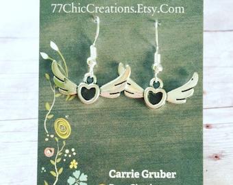 Tibetan silver winged heart earrings. Nickel free ear wires.