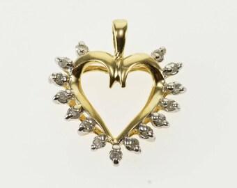 10k Diamond Petal Inset Halo Cut Out Heart Pendant Gold