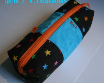 Starry blue and black fabric clutch