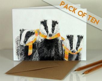 Winter badgers. Blank greeting cards. Pack of ten.