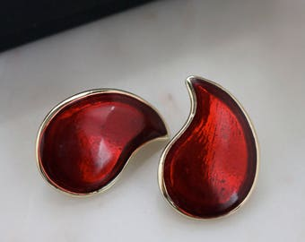 Red Teardrop Earrings - Gold Tone Red Teardrop Earrings