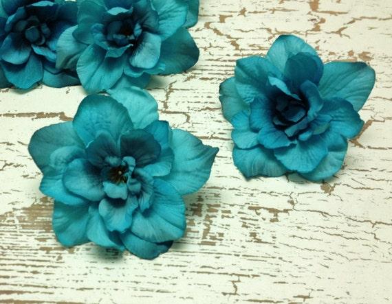5 turquoise delphinium blossoms aqua blue green artificial 5 turquoise delphinium blossoms aqua blue green artificial flowers silk flowers millinery flower crown from blissfulsilks on etsy studio mightylinksfo