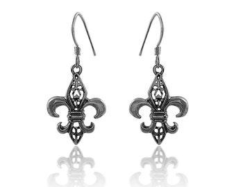 Fleur de Lis Earrings, Antiqued Fleur de Lis Earrings, French Earrings
