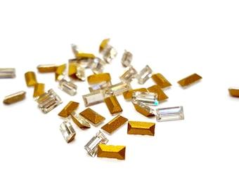 36 Pieces Tiny Swarovski Crystal Baguette Stones, Rectangle, Crystal Color with Gold Foil on Back, Vintage, 4x2mm