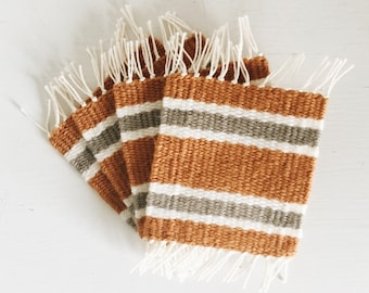 Woven Coasters | Set of 4 | Golden Yellow, Beige, & White