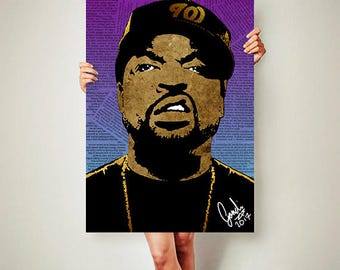 ice cube // ice cube poster // rap poster // hip hop poster // NWA poster // NWA hip hop // gangster rap // graphic design print //