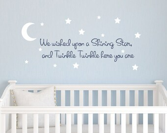 Twinkle Twinkle Wall Decal - Nursery Vinyl Decal Set - Children Baby Decor - Star Wall Decals - Star Stickers