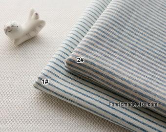 Yarn Dye Stripes Fabric/ Light Blue White  Stripes Cotton Fabric Soft Cotton- 1/2 yard