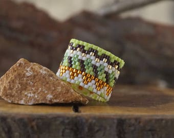 Wide Beaded ring Wide band ring Cocktail ring Chartreuse jewelry Autumn ring Statement ring Modern ring Extra wide ring tube ring for girl