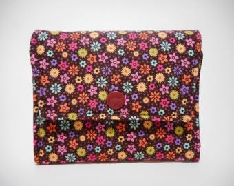 Brown Floral Small Snap Card Case, Card Holder Wallet