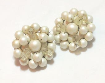 Vintage White Pearl Clip Earrings