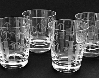 2 Bamboo Etched Bar Glasses / Old Fashioneds / Whiskey Rocks Glasses