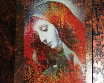 Mary Sorrowful Mother Beautiful Colorful Mounted Antique Look Religious Devotional Art. Great Gift!