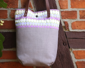 Shoulder bag with leather handles, shopper, tote, fabric bag, lilac