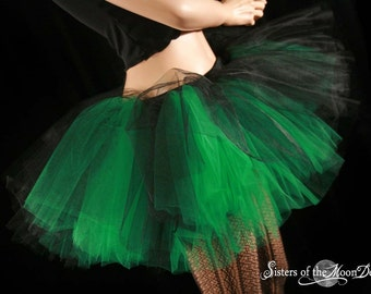 Layered two tone adult tutu skirt  gothic dance Black and green costume roller derby race run gogo-- You choose size - Sisters of the Moon