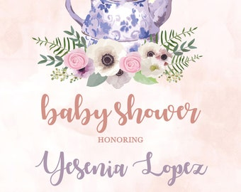 Garden Tea Party Baby Shower Invitation - DIGITAL FILE ONLY