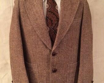 1970s Harris Tweed Blazer - Medium - Brown Orange - Sears -Classic - Wide Lapel - Disco - Unique
