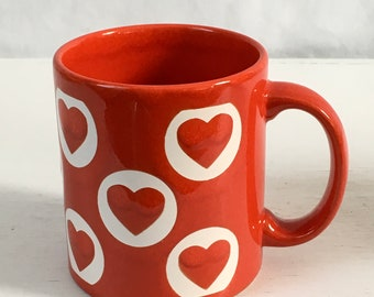 Red and white hearts Waechtersbach coffee mug 1990s vintage made in Germany
