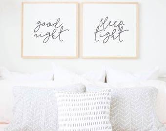 "Good Night, Sleep Tight - 24x24"" Painted Wood Sign SET ( modern farmhouse, master bedroom art, nursery art, fixer upper )"