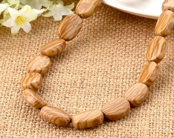 Petrified Wood Agate Gemstone Yellow Rectangle Flat Beads 12*18mm for DIY Jewelry Making