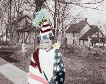 Flag Draped Child PAtriotic Tinted Fine ARt Photograph