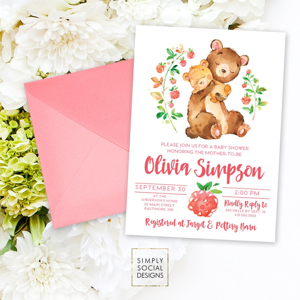 Teddy Bear Baby Shower Invitation - Mother and Baby Bear Shower ...