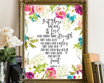 Isaiah 40:31, But Those Who Hope in the Lord, Motivational Art Print, Typographic Print, Inspirational Quote, Bible, Bible verse wall art