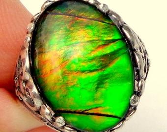 SALE, Rare Gem,Ammolite,Multi Colored Stone,Golden Green,Orange,Petrified Stone,Natural Gemstone,Gemstone Jewelry,Collectors Stone,OOAK