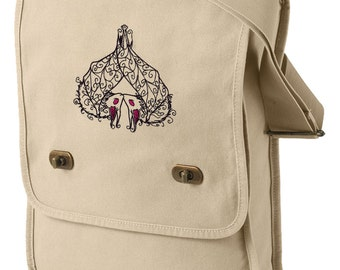 Batty Sweethearts Embroidered Canvas Field Bag
