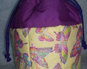 Butterflies on yellow /purple top bingo tote bag