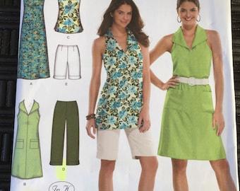Simplicity 3773 easy to sew women's dress tunic capri pants and city shorts pattern Size AA uncut
