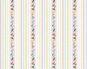 "1/2 yard Penny Rose Fabrics ""Bunnies and Cream"" By Lauren Nash | Bunnies Stripe Pink"