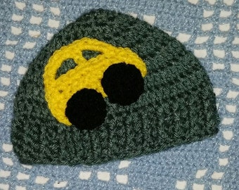 READY to SHIP--Yellow Car Hat--Crochet Baby Hat