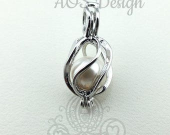 Pick A Pearl Cage Silver Plated Oval Basket Teardrop Circle Loop Wire Wrap