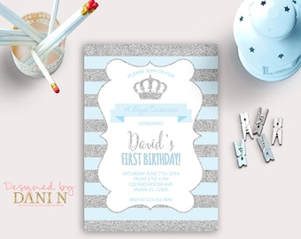 Little Prince Birthday INVITATION, silver glitter party, crown blue stripes, first birthday, Any Age invite Party, little prince printable