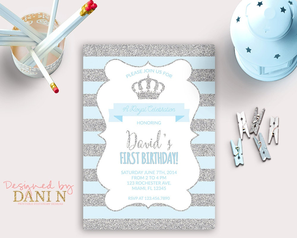 Little Prince Birthday INVITATION silver glitter party crown