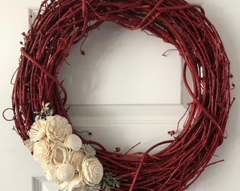Wreath/Front Door Wreath/Home Decor/Sola Wood Flowers/Gift/Housewarming Gift