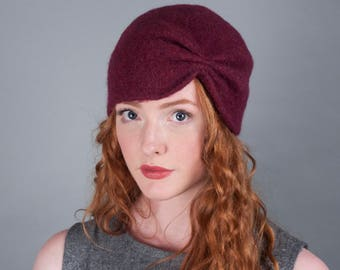 Women's Wool Felt Winter Hat // Merino Wool // Turban  // 1920's style // Gifts for Her // Beanie // Tuque // Retro // Good for Short Hair