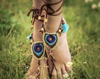 Barefoot Sandals Tribal Peacock Czech Beads Crochet Foot Jewelry Hippie Festival Wear Yoga Beach Boho Anklet Destination wedding shoes