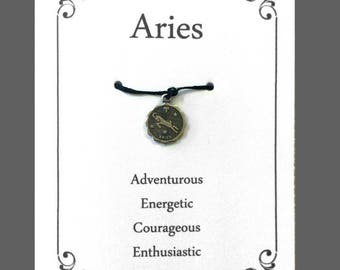 Aries Greeting card, Birthday Wish Bracelet, Aries The Ram,  Astrological Sign, Zodiac Birthday Card, Gifts Ideas For Best Friend, Her, Him