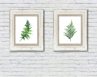 Fern Print Set of 2 - Sizes 5x7 and up, Watercolor Prints, From my Original Fern Watercolors, Fern Print, Green, Botanical Print