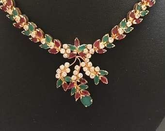 Ruby Necklace, Green Necklace, Nizam Gulubandh Necklace,Indian Wedding Jewelry,Statement Necklace, Emerald Necklace